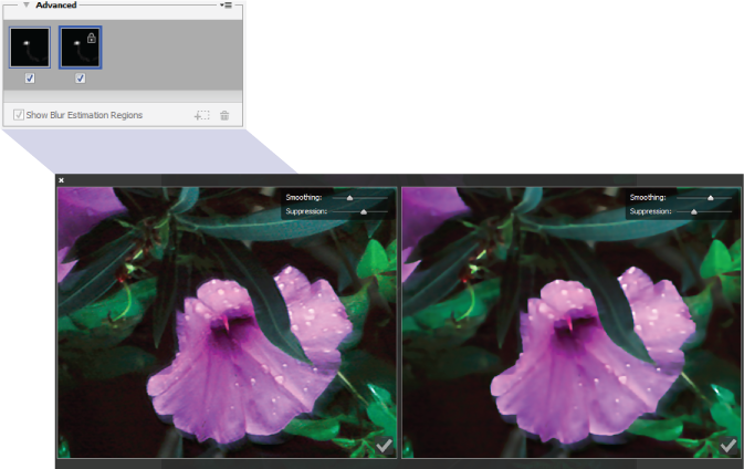 Photoshop Working with duplicate blur traces