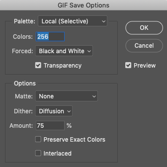 GIF Save Options dialog