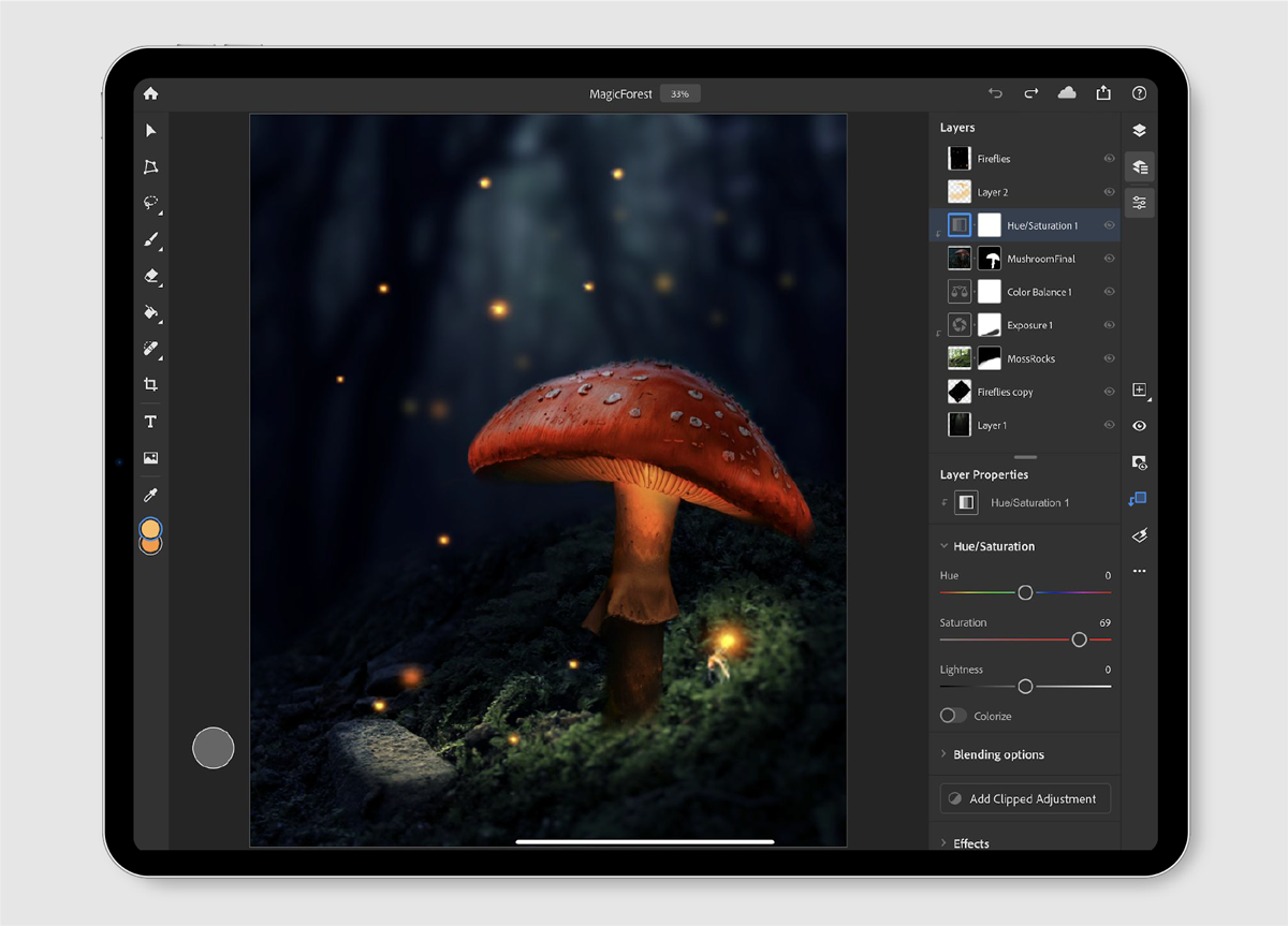 Easily create accurate selections and masks in Photoshop on your iPad.