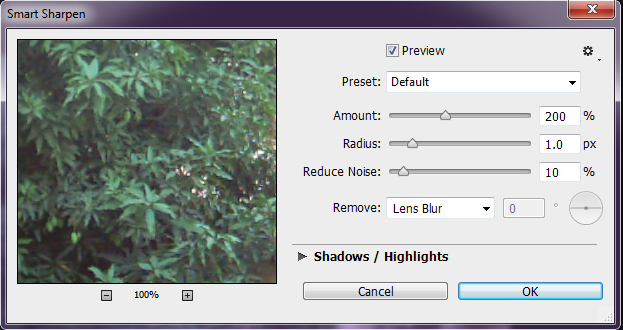 Photoshop Smart Sharpen dialog box