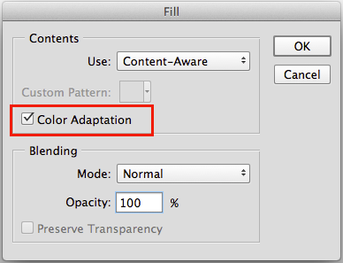 Photoshop Content Aware Fill with Color Adaptation