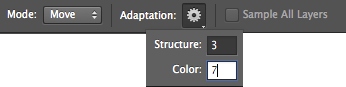 Photoshop Change the Color adaptation value