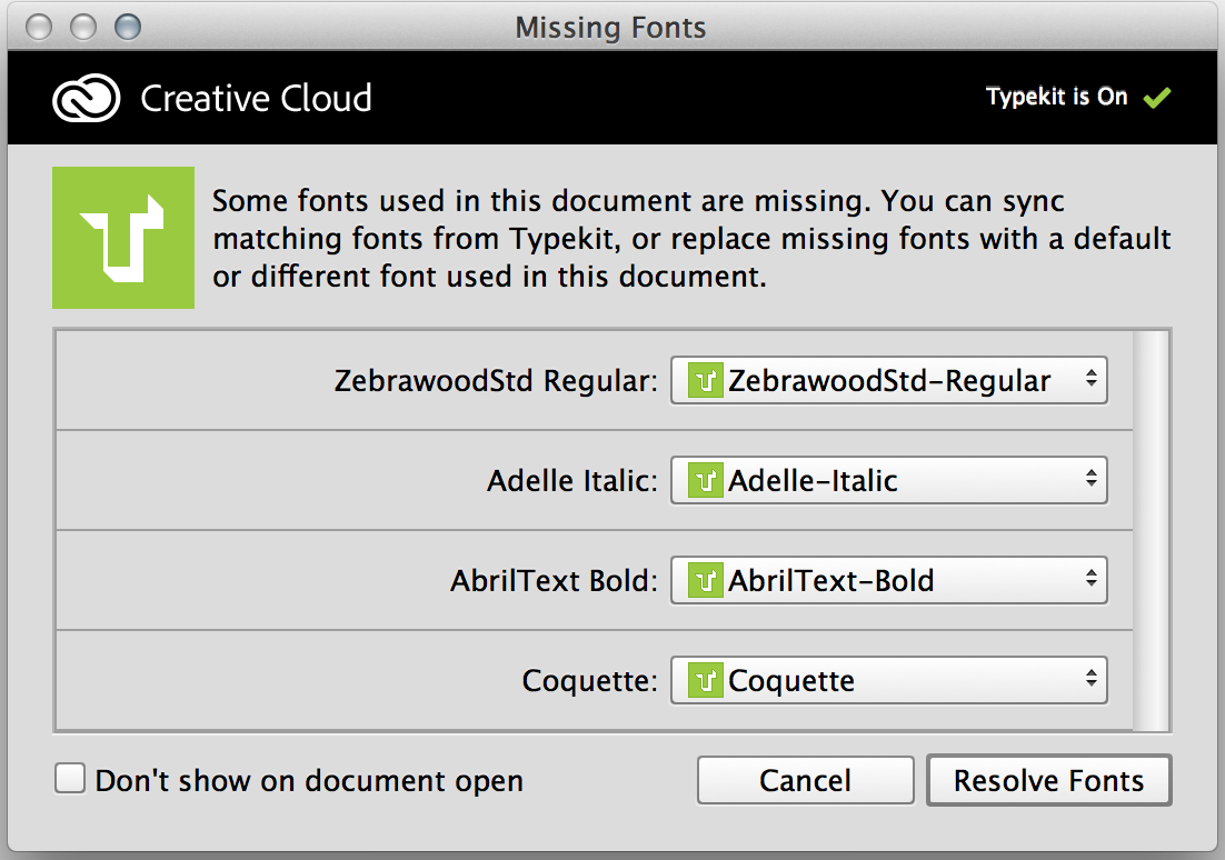 Photoshop Replace missing fonts with Typekit fonts