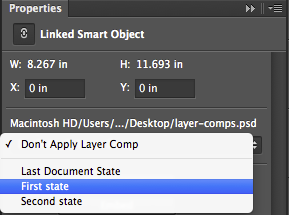 Photoshop Layer comps in Smart Objects