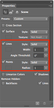 Photoshop Line/point ray tracing in Properties panel
