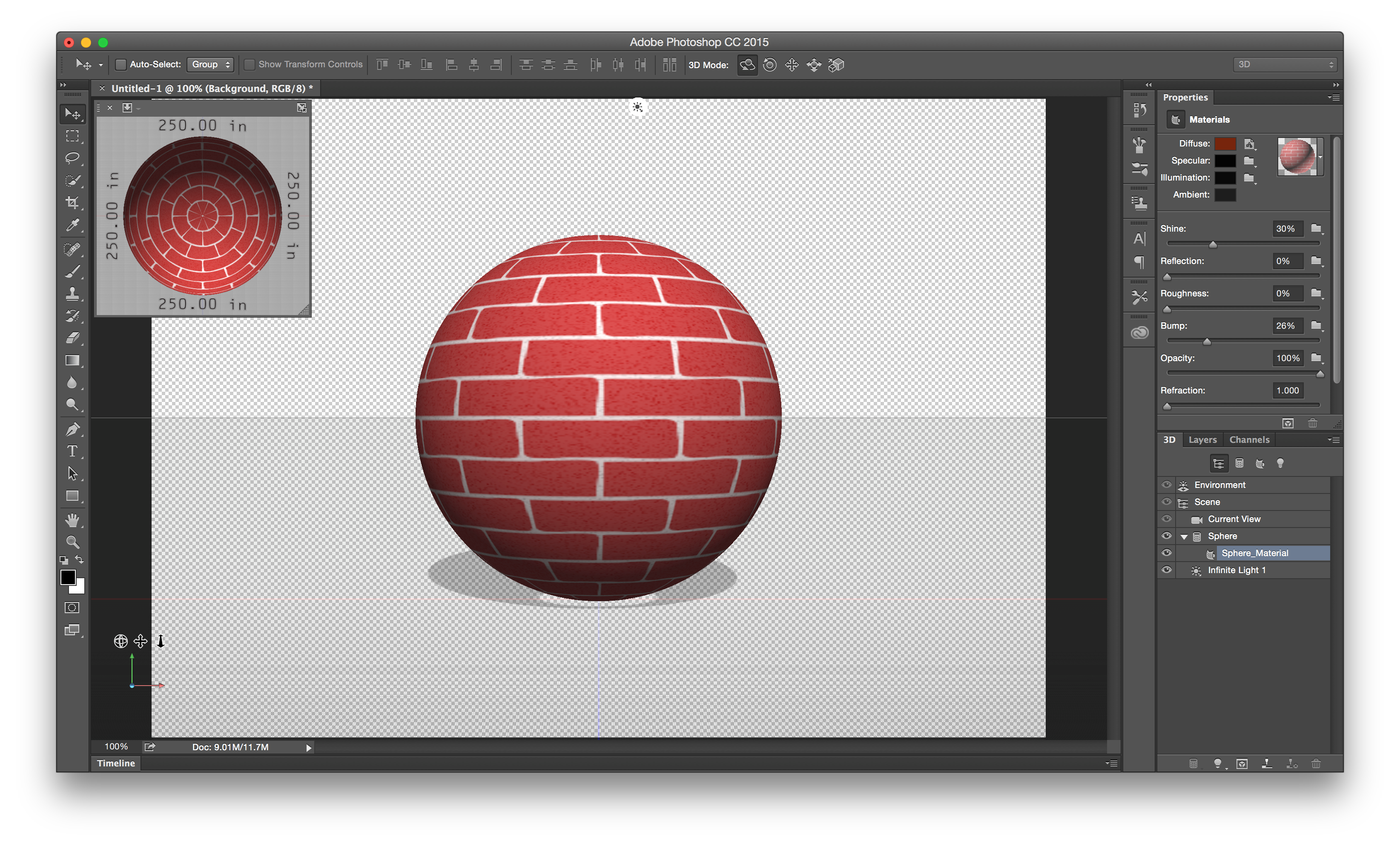 Photoshop texture in the 3D panel