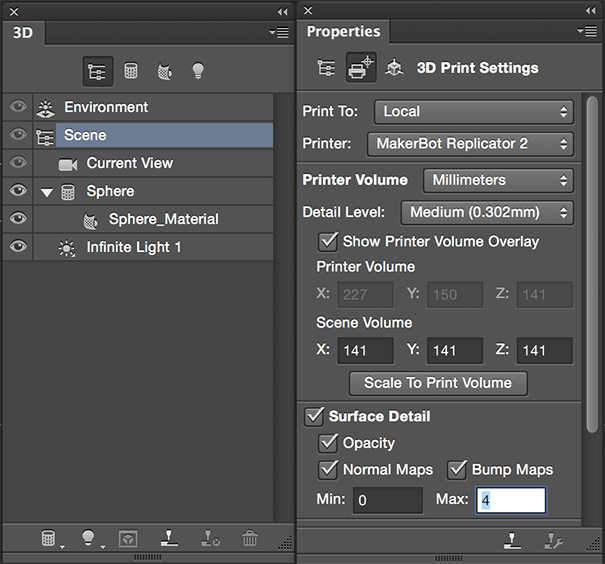 Photoshop 3D print settings