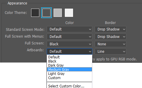 Photoshop Artboards Appearance options