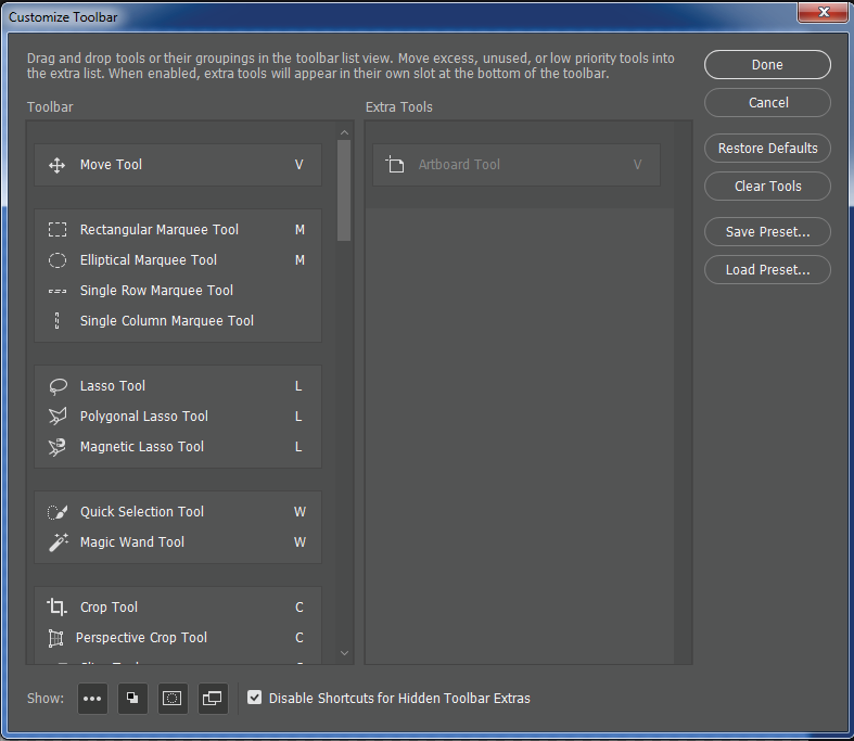 Photoshop Customize Toolbar dialog