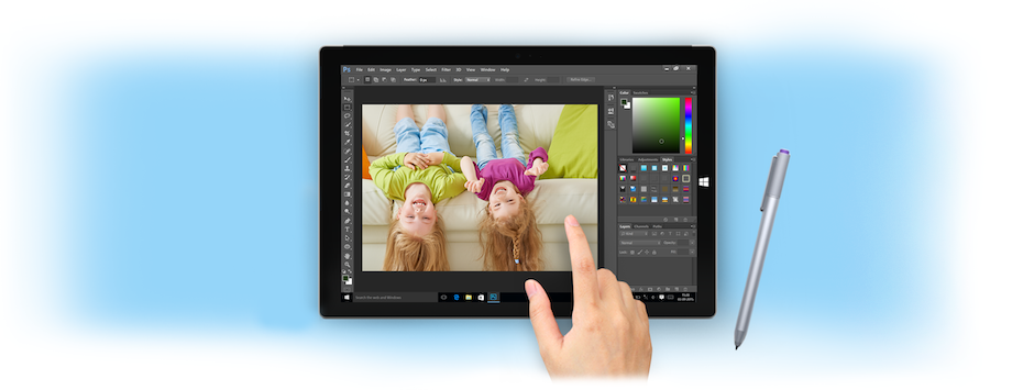 Photoshop Touch workspace and gestures
