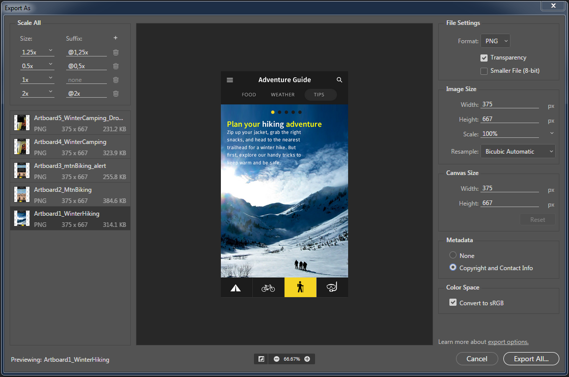 Photoshop Enhanced Export As dialog