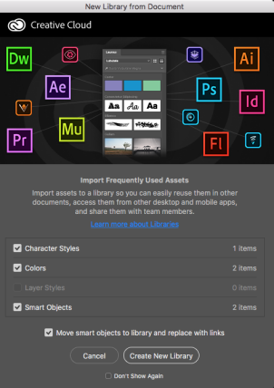 Photoshop Layers panel; Create new library