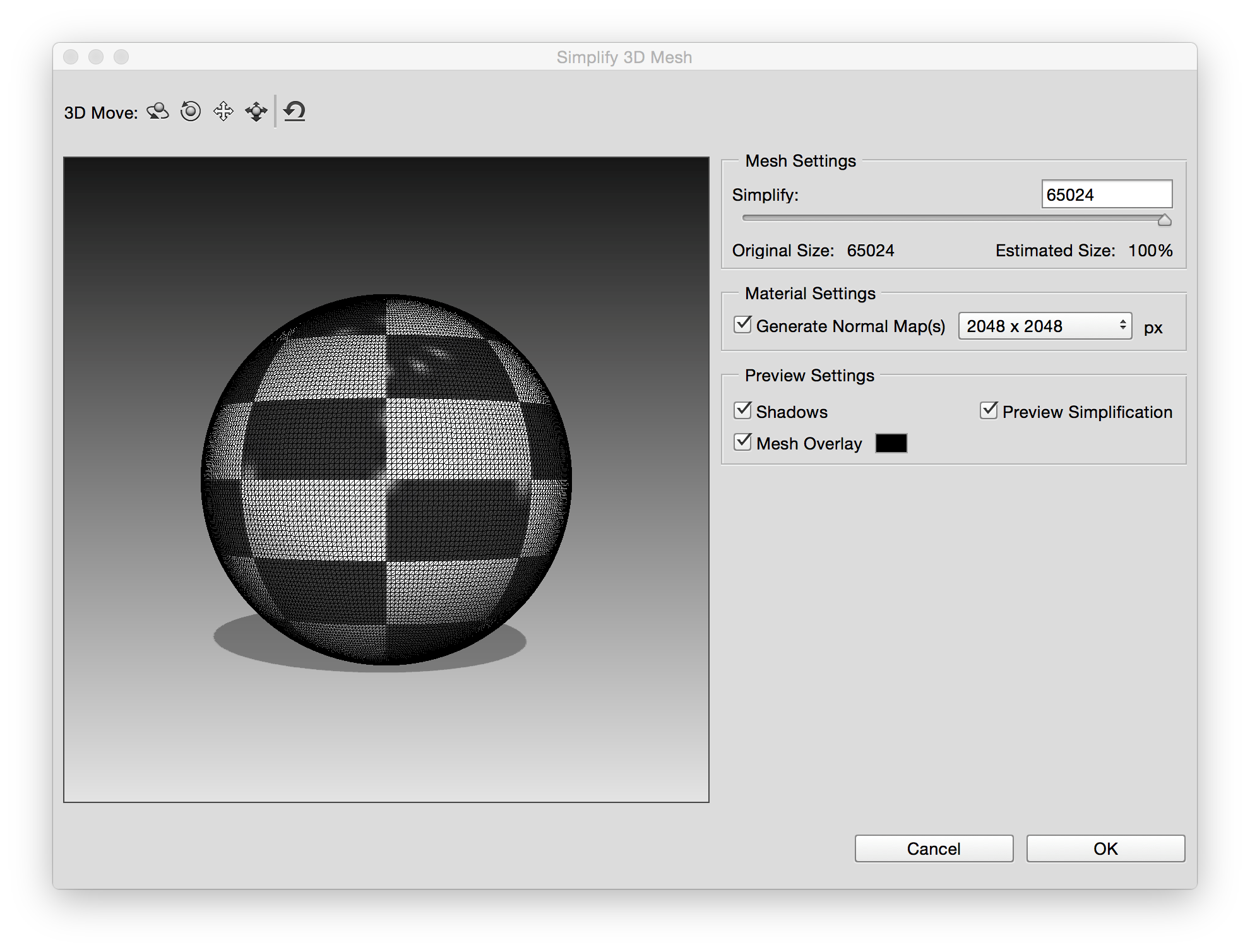 Photoshop Settings in the Simplify 3D Mesh dialog