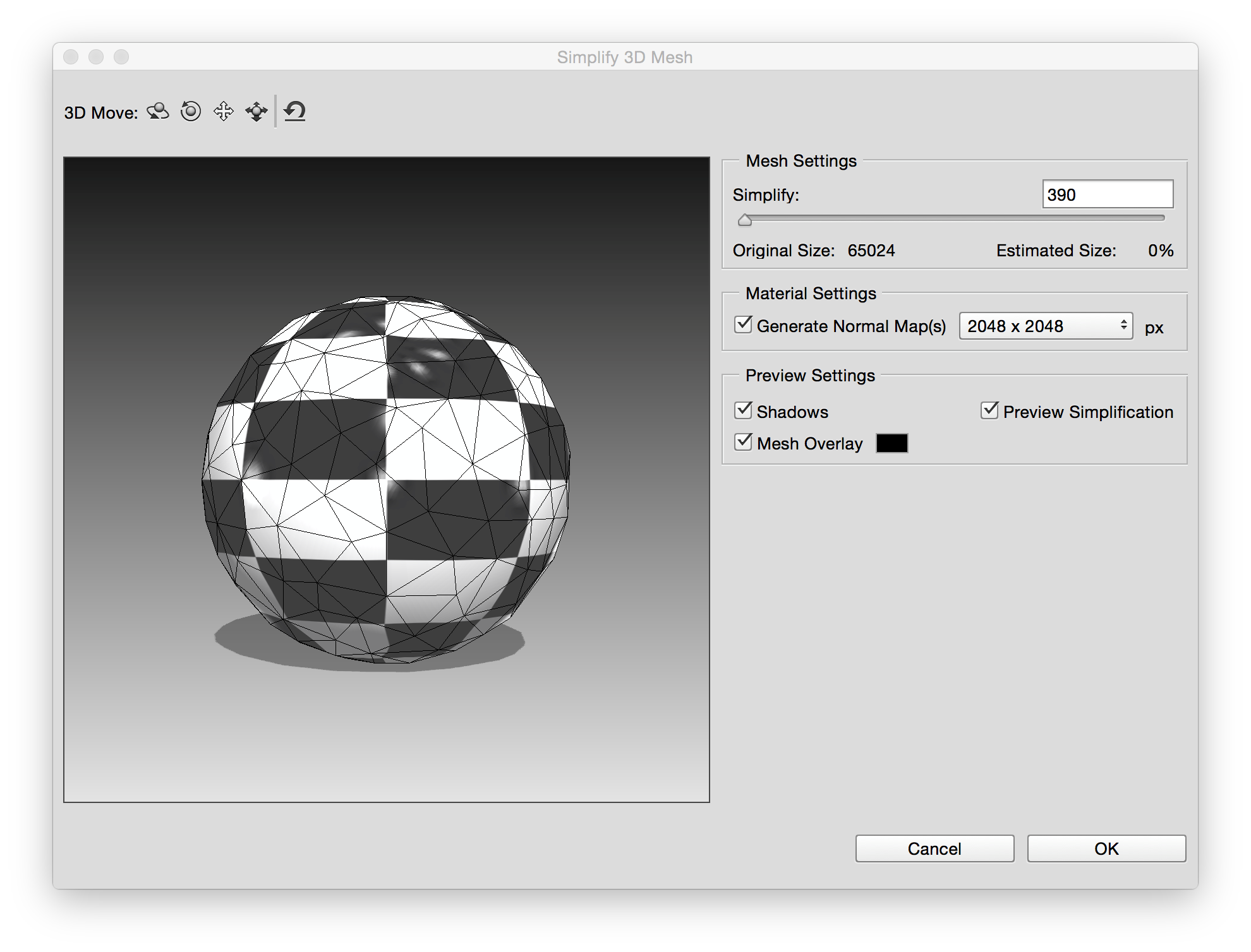 Photoshop Preview of mesh simplification changes