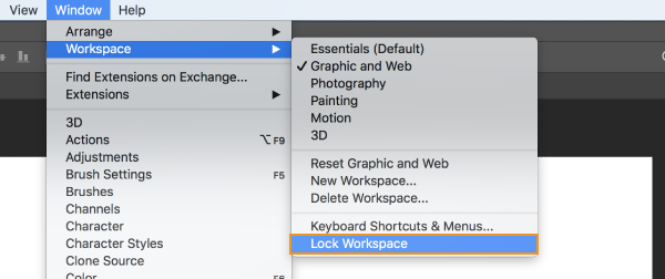 Lock Workspace option in Photoshop