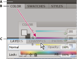 Narrow blue drop zone indicates Color panel will be docked on its own above the Layers panel group