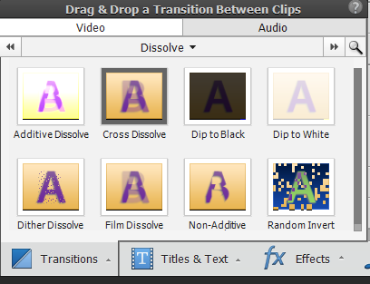 Applying transitions to clips