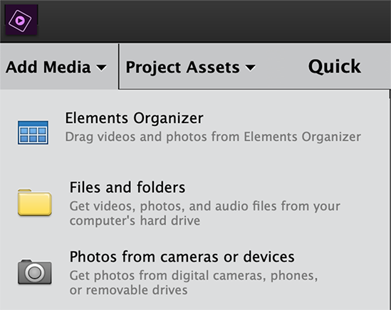 Add media to Premiere Elements