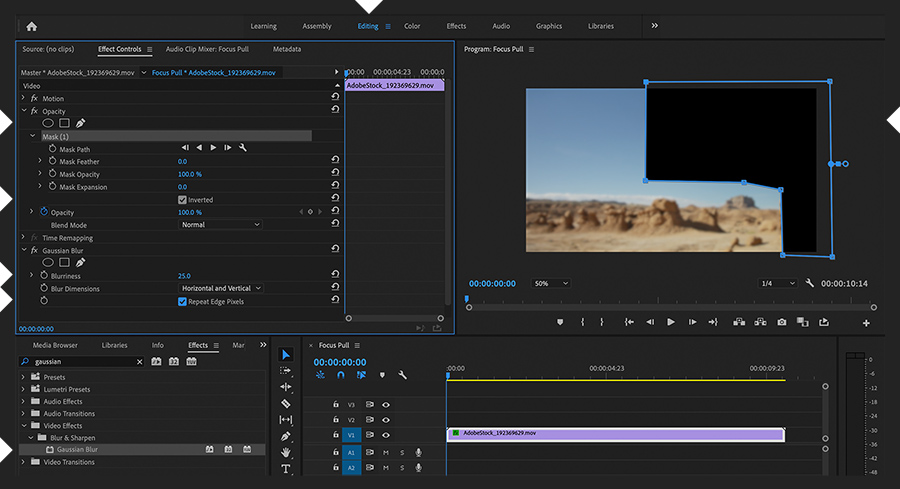 Adobe Premiere Pro shows the Editing workspace. In the Program Monitor a mask hides the hiker and a Gaussian Blur effect is applied
