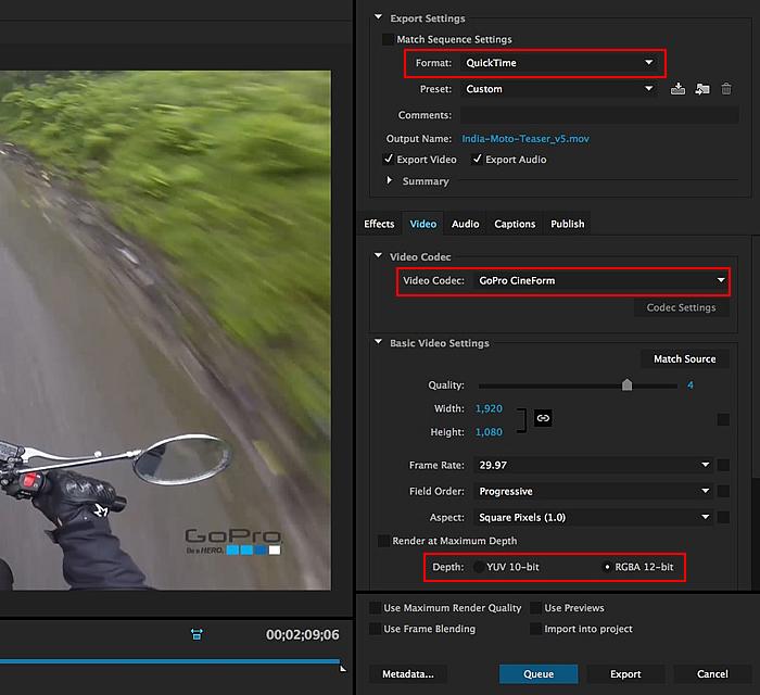 codec gopro cineform