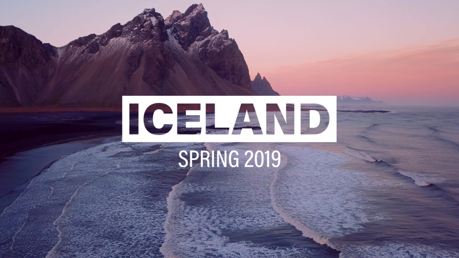 "A dramatic landscape image of a shoreline with the title graphic ""Iceland, Spring 2019"""