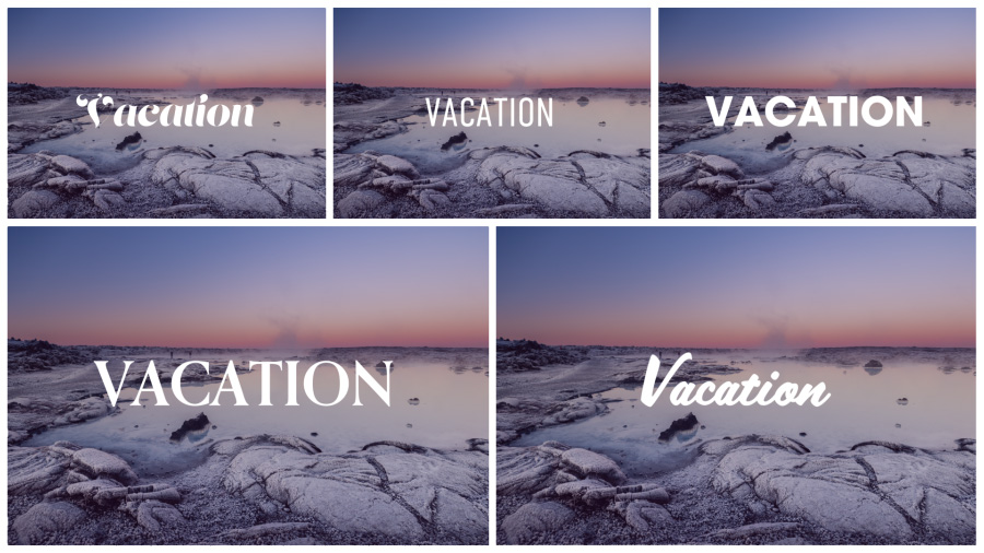 "Five copies of an Icelandic landscape image, each with the title graphic ""Vacation"" in a different font"