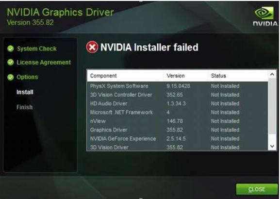 安装 NVIDIA 驱动程序时出现的错误消息