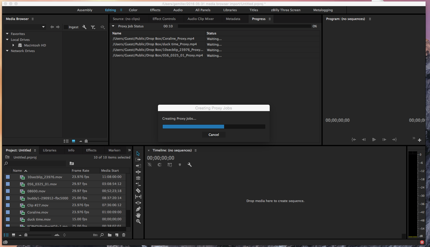 Ingest and Proxy Workflow in Adobe Premiere Pro