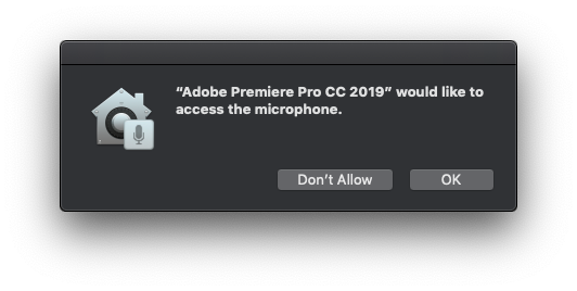 Request to access the microphone on Premiere Pro