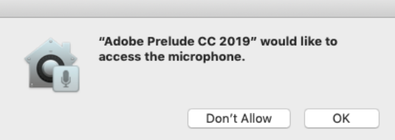 Request to access the microphone on Prelude