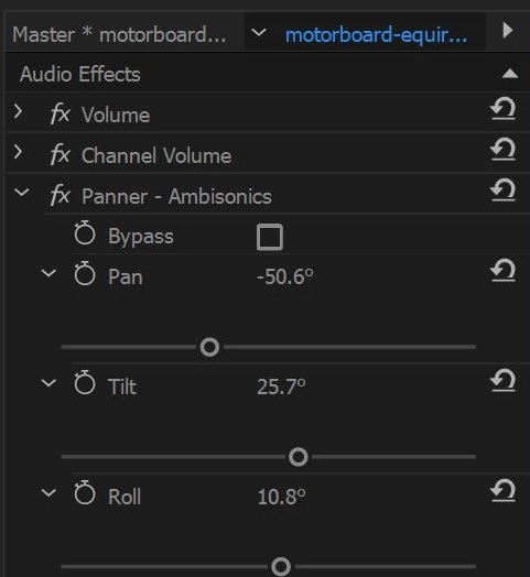 Using panner in Effects Control