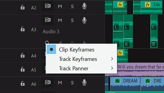 Keyframes on timeline panel
