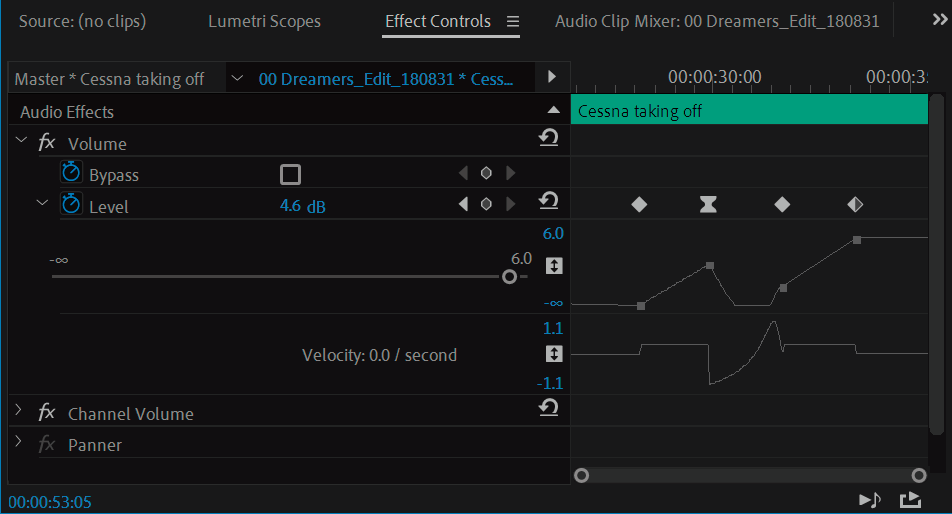 Adjust volume in Effect Controls