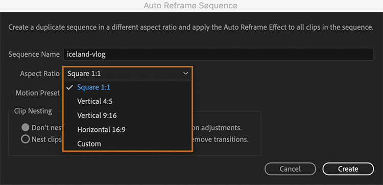 Select an option to automatically reframe the selected clip or sequence