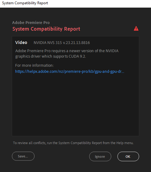 An example system compatibility report