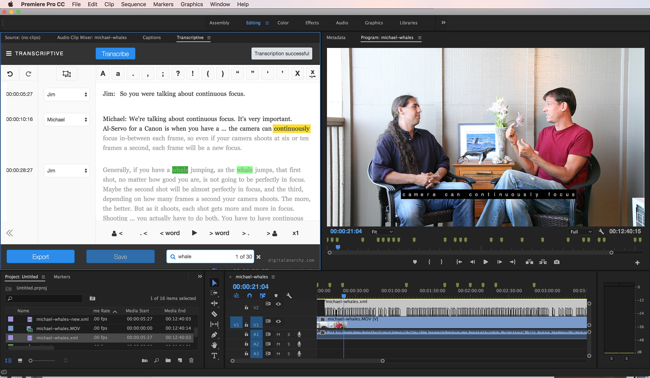 Transcriptive, from Digital Anarchy, provides speech-to-text within Premiere Pro.