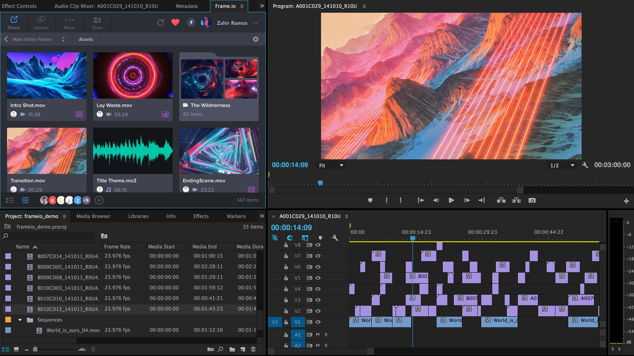 Frame.io brings reviewers comments onto the Timeline in Premiere Pro.