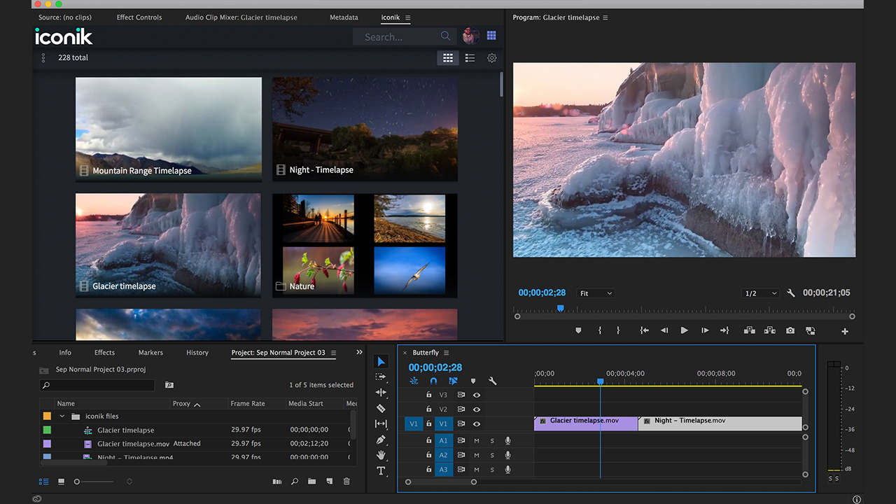 Cantemo Iconik provides access to media which can be dragged onto the Timeline in Premiere Pro.