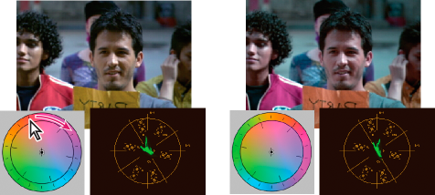 Rotating the outer ring of the color wheel (left) changes the hue angle (right)