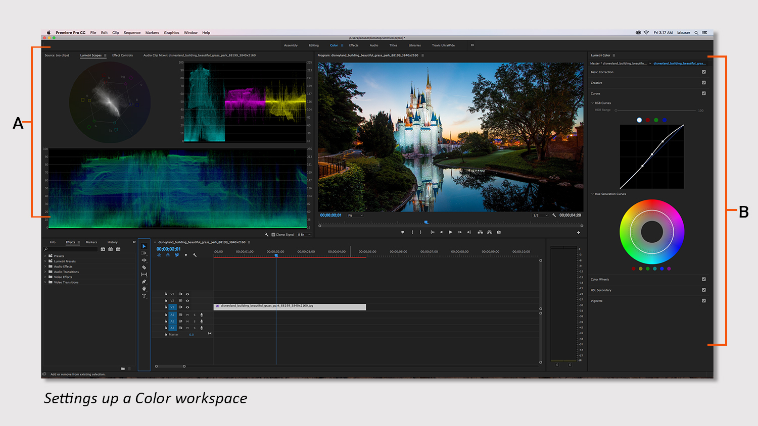 Setting up a Color workspace