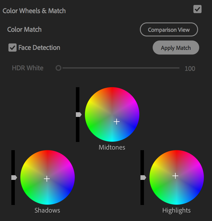 The Color Wheels & Match tab