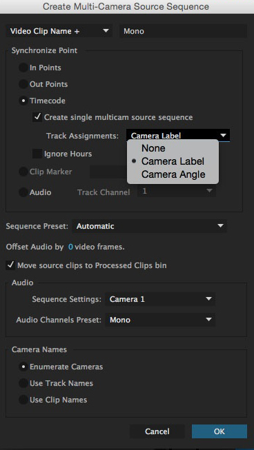 The Create Multi-Camera Source Sequence dialog box