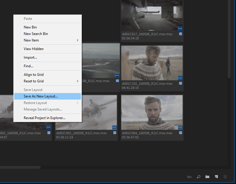 Context menu to save your arrangement of clips as a layout