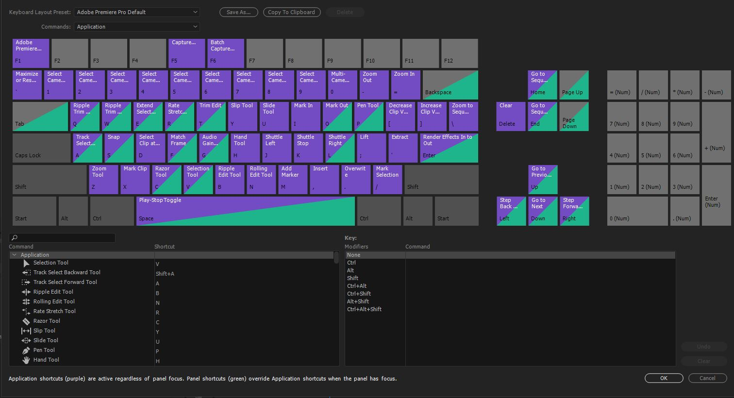 Preset and customizable keyboard shortcuts in Premiere Pro