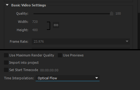 Optical Flow option in the Time Interpolation drop-down box selected