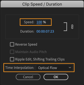 Clip Speed/Duration dialog box