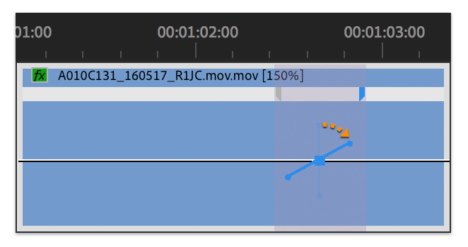 Blue curve control in gray area between halves of a speed keyframe