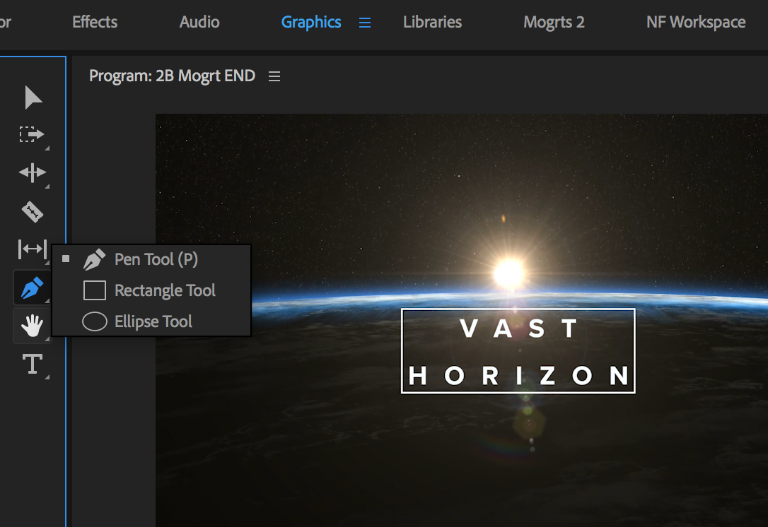 create titles and motion graphics with the graphics workspace in