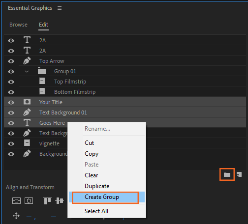 Creating groups using the Create Group icon or the context menu