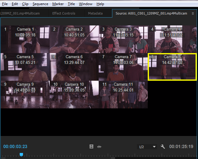 Camera Name and Source Timecode displayed as overlays in Multi-Camera view